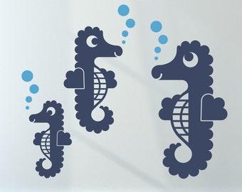 Seahorse Wall Decals Ocean Under the Sea Baby Nursery Kids Underwater Room Decor Beach Wall Stickers