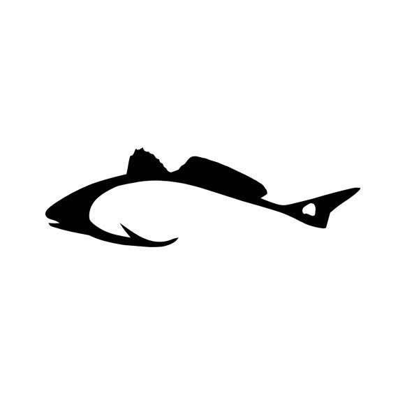 Hook shaped redfish fishing vinyl diecut decal car truck for Free fishing decals