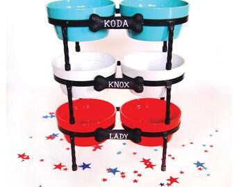 Raised Dog Bowls - Diner - Ceramic dog bowls - Pet Bowls with metal Stand - turquoise - Red - White - Doggie Diner - Dog Bowl Set