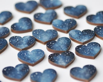 Wedding magnets Blue party favos Magnets hearts Birthday favor Bridal shower Love heart magnets Valentines day cards Wooden gifts Home decor