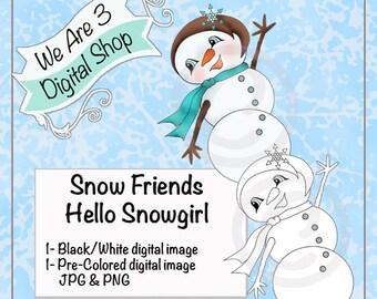 We Are 3 Digital Shop, Hello Snowgirl, Digital Stamp, Winter, Christmas