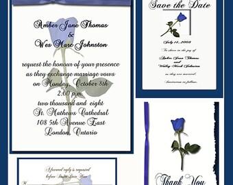 Blue Rose  Design Wedding  Invitation Package Editable Download