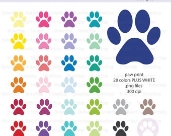 Paw Print Icon Digital Clipart in Rainbow Colors - Instant download PNG files - PLUS white icon