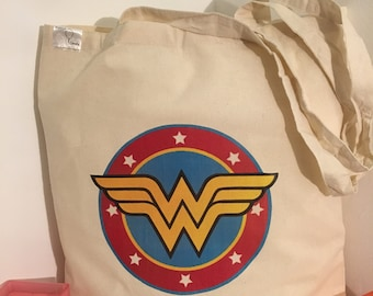 Wonder Woman cottong bag. Tote bag, feminist bag.Free shipping (UK  only).