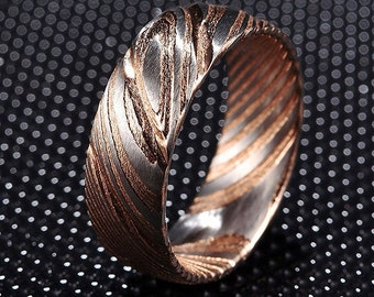 8mm Damascus Steel Ring Mens Wedding Band - Damascus Rose Gold Ring - Stainless Steel Rose Gold Wedding Band - Unique Wedding Ring Mens Ring