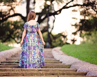 Lace Photo Prop Maxi Dress for Girls Toddlers, Boho Floral Photography Dress, Bohemian Off Shoulder Summer Dress, Tea Party Dress, Delphine