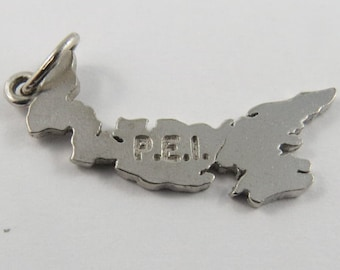 A Map of the Canadian Province of Prince Edward Island Sterling Silver Charm.