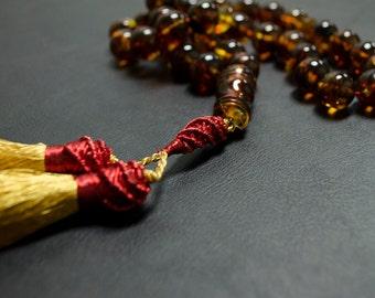 Natural pressed amber Rosary- Misbah-Tasbih- Islamic.