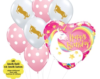 Unicorn Birthday Party Decorations - Unicorn Balloon Bouquet Rainbow Unicorn Balloon Gold Unicorn Latex Balloon Set Pink Polka Dot Balloons