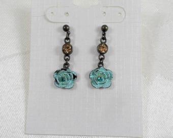Rustic Vintage Antique Flower Brown Crystal Post Dangle Drop Earrings