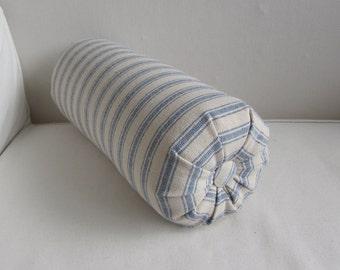 BOLSTER PILLOW Grain Sack BLUE Stripes  lumbar accent throw 6x14 6x16 6x18 6x20 6x22