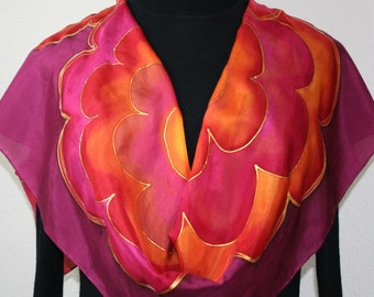 Crimson Red Silk Scarf. Brick Red, Orange Hand Painted Silk Scarf CRIMSON FLOWERS. Offered in Several SIZES. Handmade Gift. Anniversary Gift