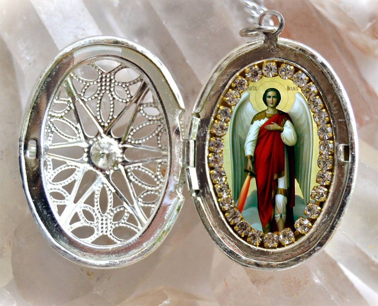 St michael archangel handmade locket necklace catholic christian st michael archangel handmade locket necklace catholic christian religious jewelry medal scapular pendant aloadofball Image collections