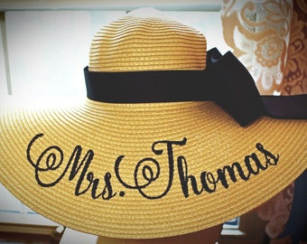 Personalized Mrs Hat Name Hat Honeymoon Bridal Hat Floppy Straw Natural Wedding, or Bridesmaids, Beach, Derby, Cup Race