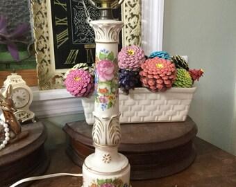 Vintage Table Lamp, Vintage Candlestick Lamp, Shabby Chic Lamp, Boudoir Lamp, Floral Ceramic Lamp, Roses, Gold