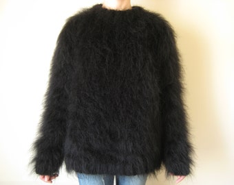 Made to Order ! Black mohair sweater size XL