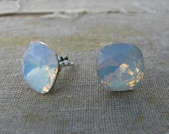 Swarovski Square Cushion Cut Stud Earrings by Courtney Lee Designs-Priscilla Collection-Sterling Silver and White Opal