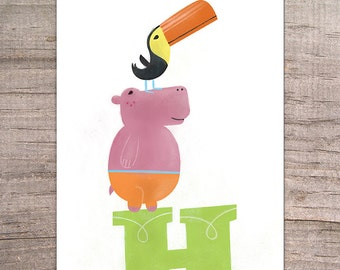 Hippo Hop - Hippo and Toucan Print 8x10 - animal, kids room decor, children's, nursery art, boy, girl, illustration, art