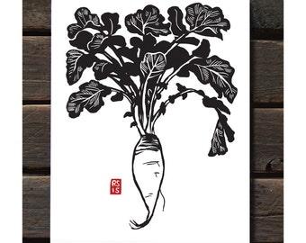 """ART536: Long Daikon 11""""x14"""" Letterpress Art Print"""