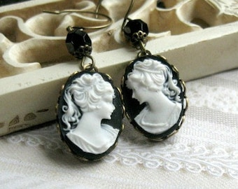 Lady cameo earrings, black and white cameo in antiqued brass setting