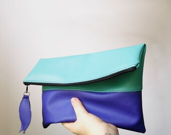 Foldover Clutch bag Mint Cobalt Blue Vegan Faux Leather, Colour block