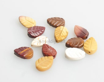 C168 Natural Silver leaf agate Leaf Beads Supplies, Full Strand 7x11mm Silver leaf agate Gemstone Beads for DIY Jewelry Making