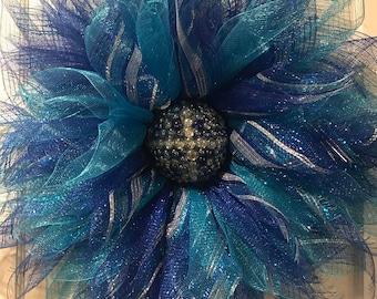 Summer / Spring All Year Round Big Blue Sunburst deco mesh wreath