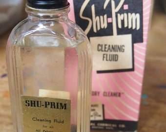 """vintage shu-prim cleaning fluid """"A dry Cleaner"""" - full bottle and package- vintage advertising"""