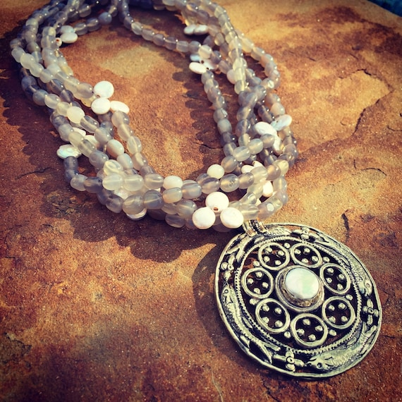 Grey Agate Multistrand Boho Statement Necklace and Earring Set
