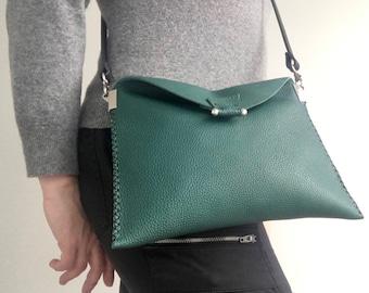 Handmade in UK green grainy leather foldover crossbody bag with black strap