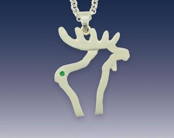 Moose Pendant Necklace - Silhouette Moose - Sterling Silver Tsavoriate Garnet