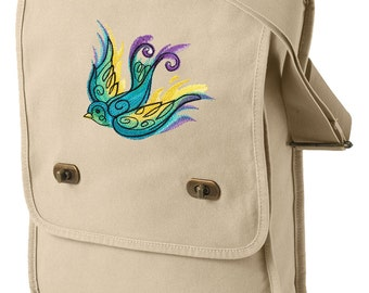 Painted Swallow Embroidered Canvas Field Bag