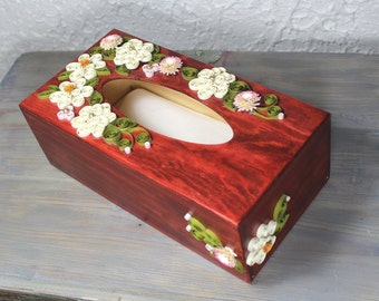 Wooden paper tissue box/quilled decorative box/quilled kleenex box cover/quilled daisies and carnations/quilled flowers
