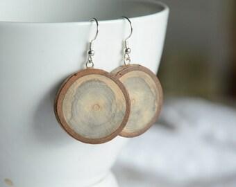Large wooden earrings, earthy wood dangle earrings, natural raw wooden jewelry, eco-friendly wooden jewellery, XXL earrings from timber