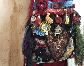 Wild Gypsy Purse, handmade bohemian fabric bag, layered ruffled black laces, unique ooak velvet chenille beads buttons embellished