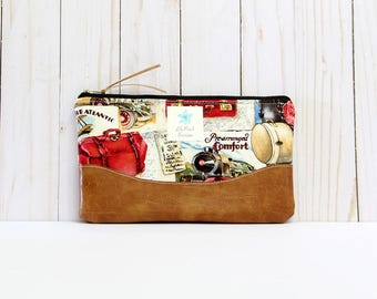 Voyage Traveling Clutch Purse, Zipper Pouch, Vegan Leather Trim, Bridesmaid Gift, Cosmetic Bag
