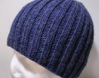 Hand Knitted Blue Alpaca Ribbed Skull Cap