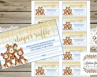 Twins BABY BEARS Diaper Raffle Ticket, Bear Diaper Raffle Insert, Blue and Gold Glitter, Printable, Instant Download, Twins Baby Shower