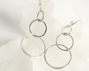 Sterling Silver Earrings, Three Link Silver Earrings, Silver Link Earrings, Sterling Earrings, Sterling Dangle Earrings