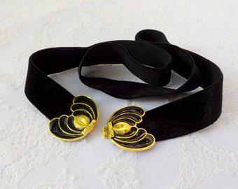 Black elastic waist belt. Black velvet belt. Gold and black butterfly buckle. Dress belt.