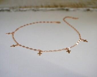 Bohemian Cross Choker, Rose Gold Cross Choker Necklace, Wedding Jewelry, Silver Cross Choker, Gold Cross Choker, Bohemian Choker