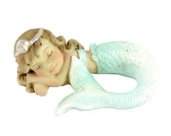 "Sleeping Mermaid, 2"" x 2"" - Resin - Miniature Dollhouse Fairy Garden"