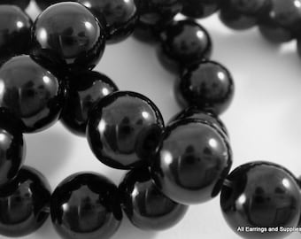 50 Glass Pearls 8mm Black Opaque Round Beads .5mm hole - 14 inch - 5018
