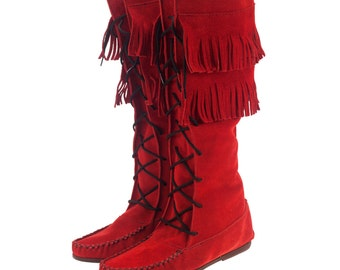 Native mocassins boots With fringes