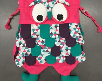 Backpack OWL cotton print and pink graphic