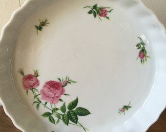 "Vintage Quiche Dish, Vintage Christineholm Quiche Dish, ""Rose"" by Christineholm"