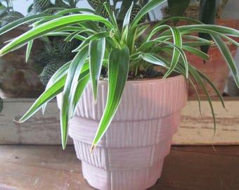 Vintage Pink Pottery Planter - Glazed Ceramic Flower Pot - McCoy Pottery - Pink Decor