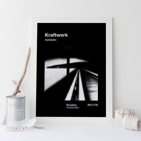 Kraftwerk poster early industrial music band retro