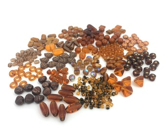 170g Brown Bead Mix, Czech Pressed Glass, Bead Soup, Assorted Bead, DIY Craft, Jewelry Making, BM021
