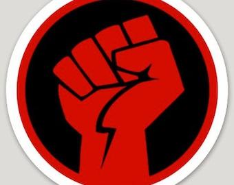 """4"""" Red Fist Sticker"""